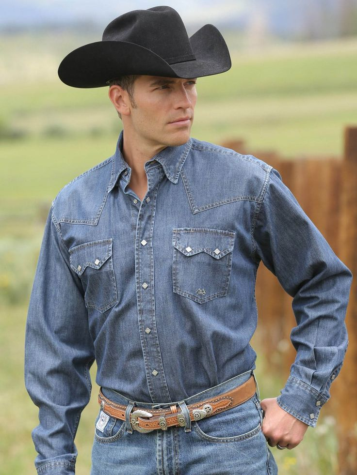 Mens Miller Ranch Mens Denim Button Down Shirt Dtw2214002  Texas Boot Company is located in