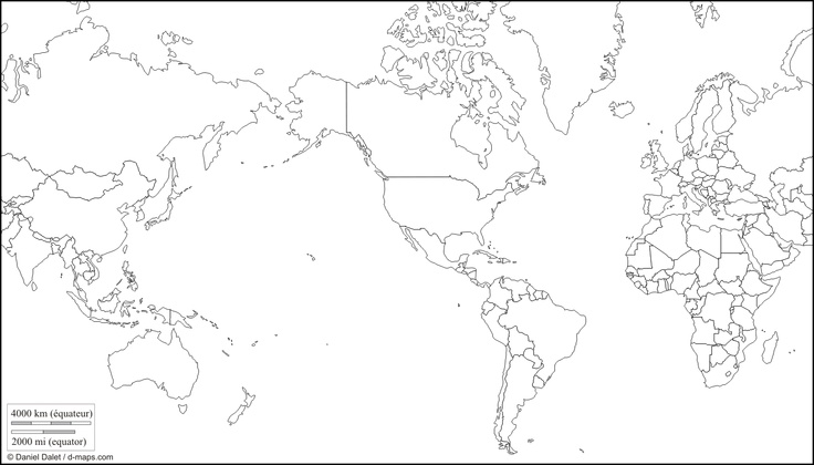 World America centered: free map, free blank map, free