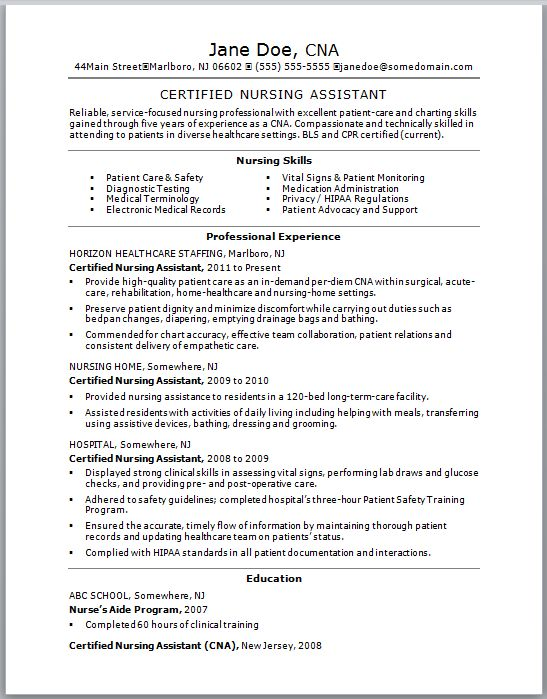Check out this sample of a CNA resume Resumes are vital to getting a certified nursing