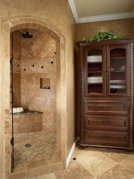 master bathroom tile design ideas Old World Corner Double Shower Tile Design, Pictures, Remodel, Decor and Ideas - page 7 | For My