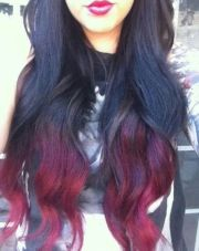 ombre black and red hair