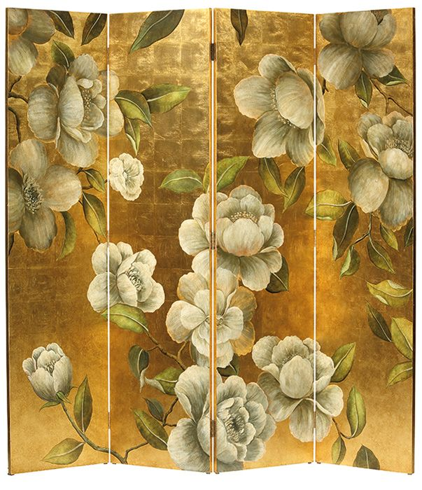 folding screen  handpainted wood folding screen with floral design on an antiqued goldleaf