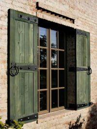 green rustic shutters