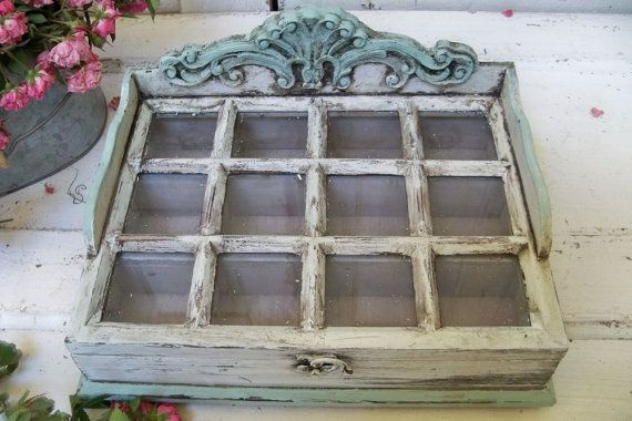 Ornate Wooden Display Box With Glass Lid Compartments