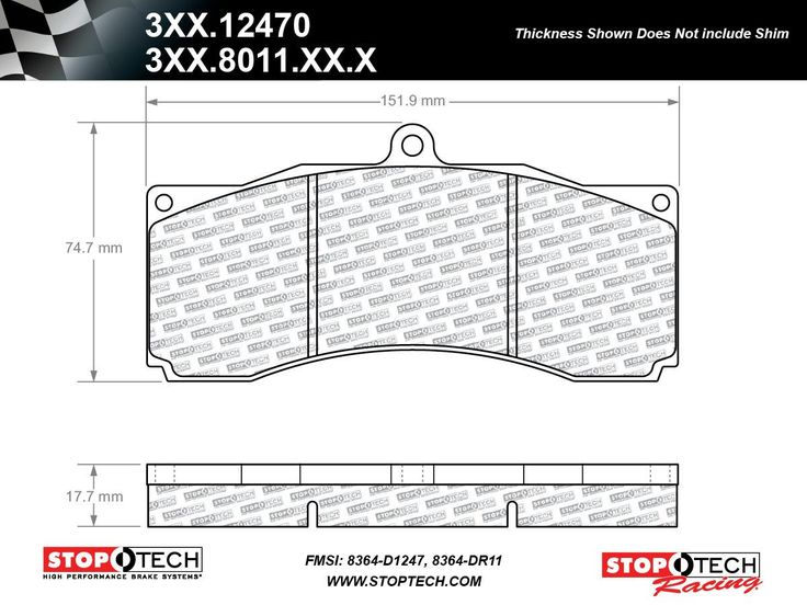StopTech ST60 Caliper SR34 Compound Race Brake Pads (FMSI
