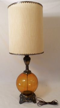 Mid Century Modern Amber Table Lamp Brass with Original ...
