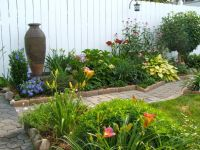 Perennial garden in small backyard, with large pottery as ...
