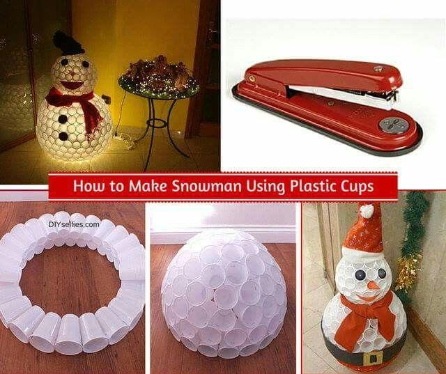 Plastic cup snowman