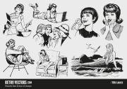 1960s ladies vintage vectors