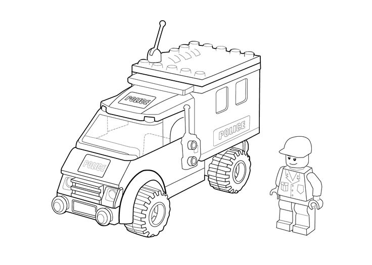 Lego police car coloring page for kids, printable free