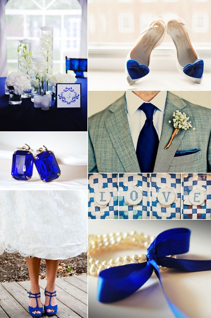 Cobalt blue wedding  love the grooms outfit and the brides blue shoes   Wedding party