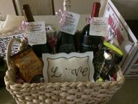 Engagement party gift basket for a great couple ...