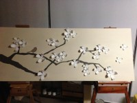 Umbra wall flowers on canvas painted as cherry blossom ...