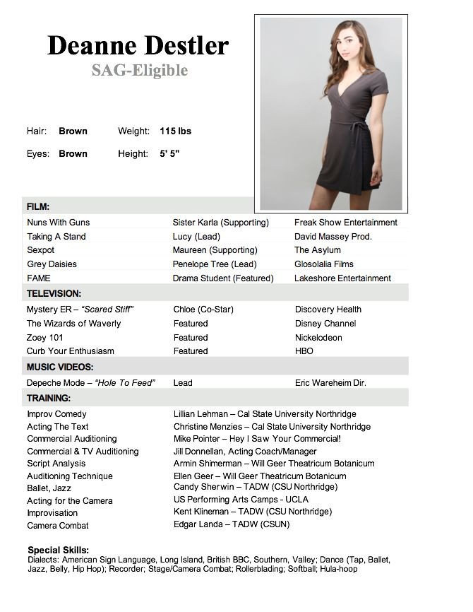 resume actress sample