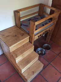 raised dog bed with stairs