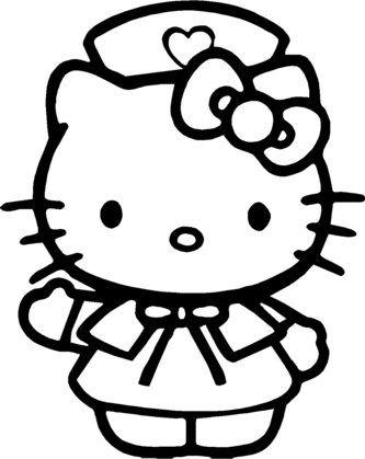 Pinto Dibujos: Hello Kitty de enfermera para colorear