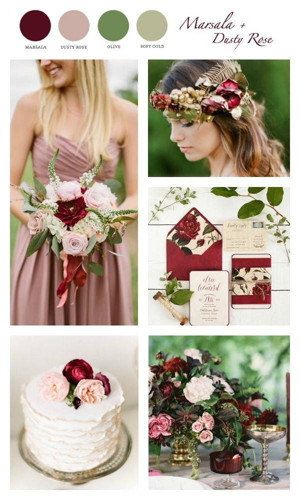Spring Marsala Wine Wedding Palette  Color Combo Marsala
