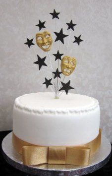 Drama Tragedy Masks Cake Topper Suitable For A Small Cake Or Cupcke Amazon Co Uk Kitchen