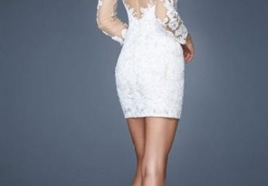 White Long Sleeve Rehearsal Dinner Dress
