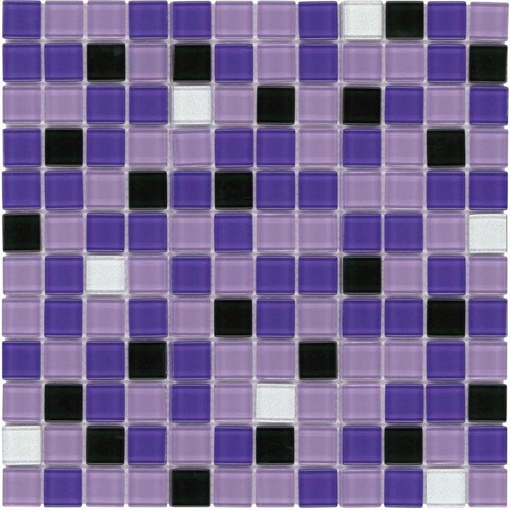 home depot glass tile kitchen backsplash uniforms mosaic purple blend 1x1   ...