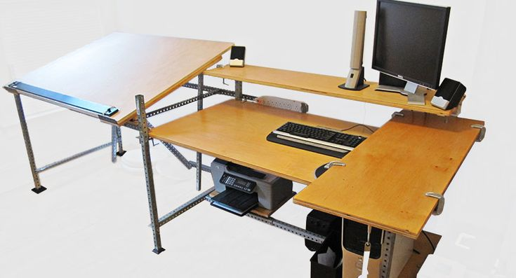 desks with built in drafting table  Google Search this