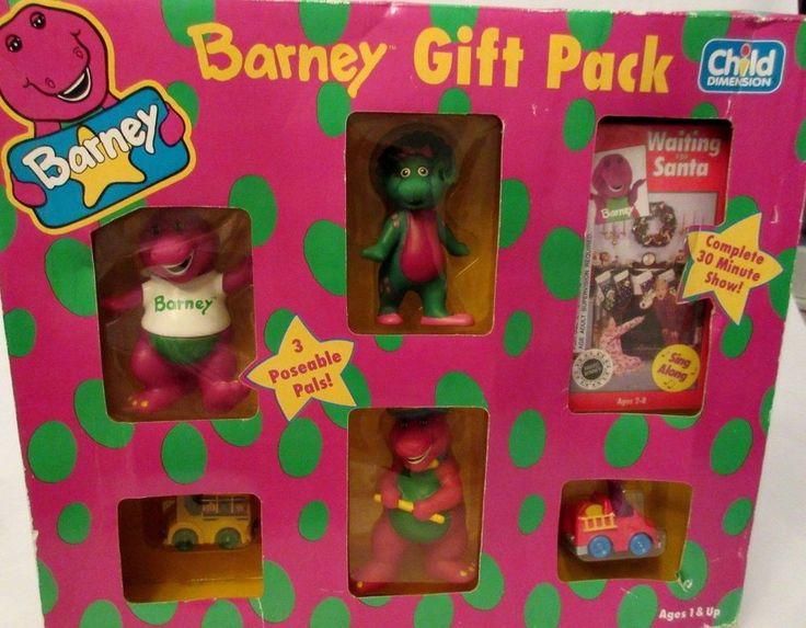 Vintage new barney dinosaur figure gift pack baby bop  waiting for santa video  Santa video