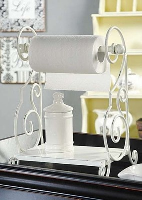 New Counter Top White Metal Paper Towel Holder with Shelf  Paper towel holders and Towel holders