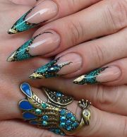 turquoise stilettos and gold leaf