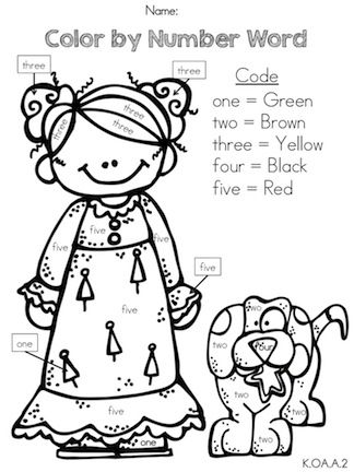 Number words, Color by numbers and Kindergarten math