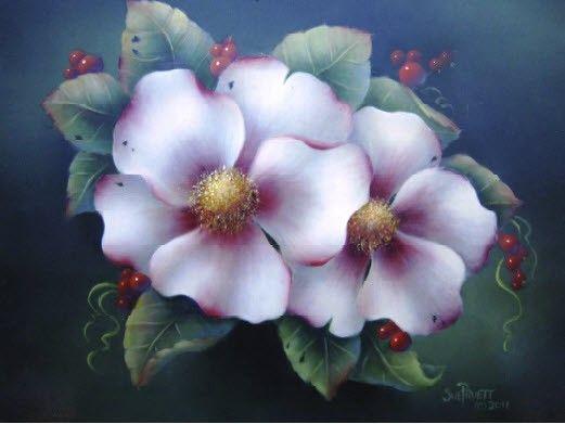 DVD Winter White Roses Painting Flowers Sue Pruett