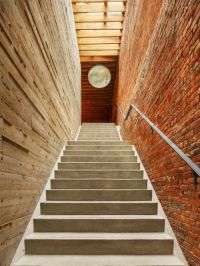 Combination Of Wooden And Brick Wall With Stairs And ...