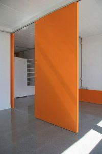 orange wall + concrete floor | Room divider ideas ...