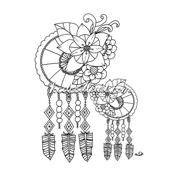 114 Best Images About Dreamcatcher Coloring Pages For