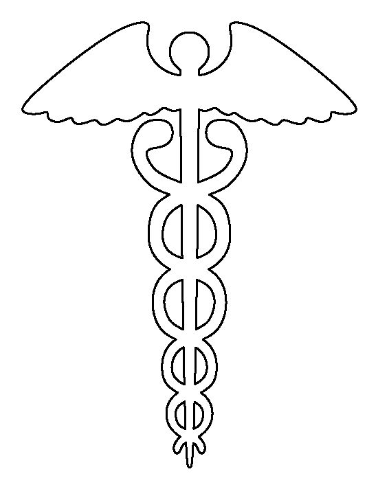 Caduceus (medical symbol) pattern. Use the printable