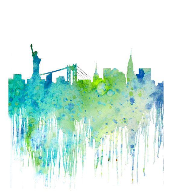 Blue Watercolor Skyline New York Cityscape, Watercolor Art