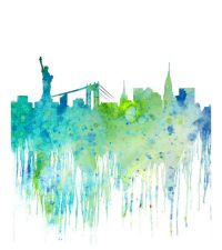 Blue Watercolor Skyline New York Cityscape, Watercolor Art ...