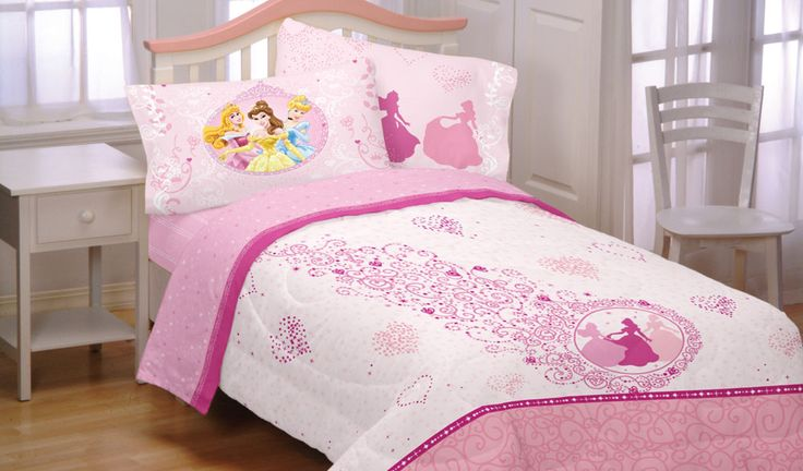 5pc DISNEY PRINCESS Pink Hearts FULL BEDDING SET