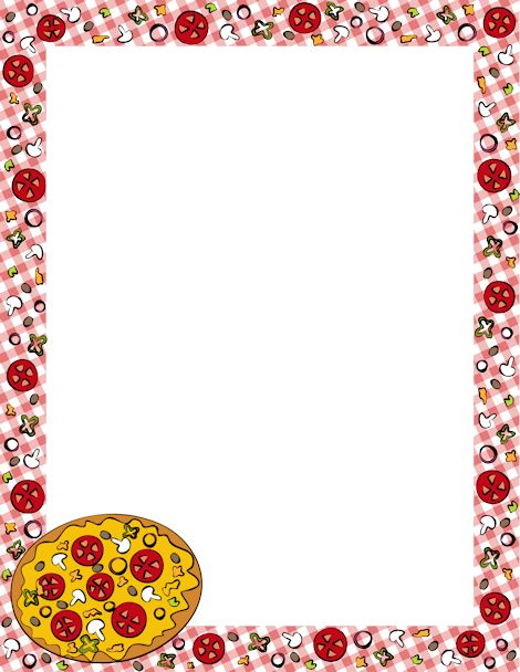 Page border featuring pizza graphics on a tableclothstyle