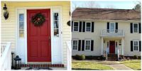 cottage red french doors exterior yellow house white trim ...