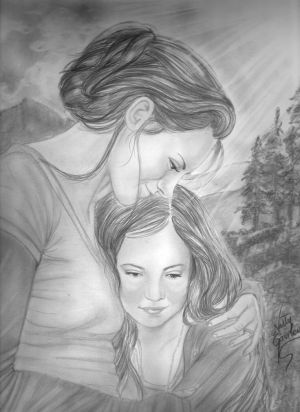 mother daughter sketch child deviantart renesmee sketches cullen pencil drawings fan drawing holding twilight saga carlie fanpop anime jacob face