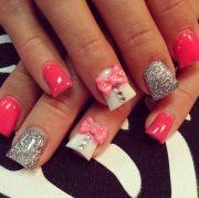 cute bow nail design