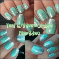 Teals and silver sprinkle ombre | Nails | Pinterest | Teal ...