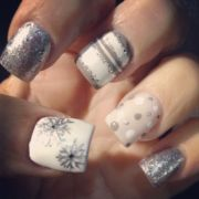 grays and white holiday nails