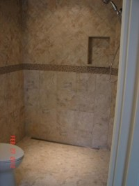linear drain, curbless shower. I like the toilet and ...