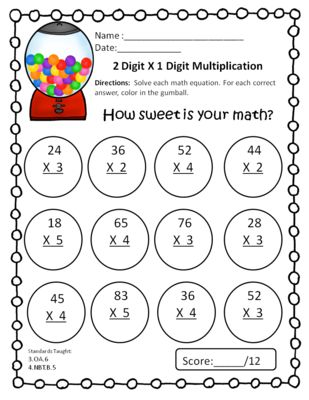 Multiplication Worksheets » One Digit By Two Digit
