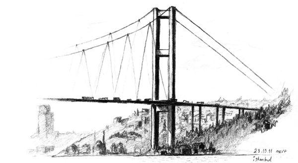 life continues on the Bosphorus Bridge, Istanbul, Turkey