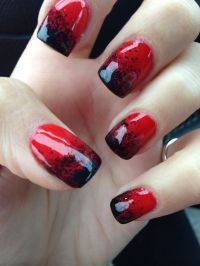 Red and black Halloween gel nails | Nails | Pinterest ...