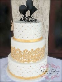 White & Gold Wedding Cake, 3-Tier, Gold Cake Lace, Gold ...