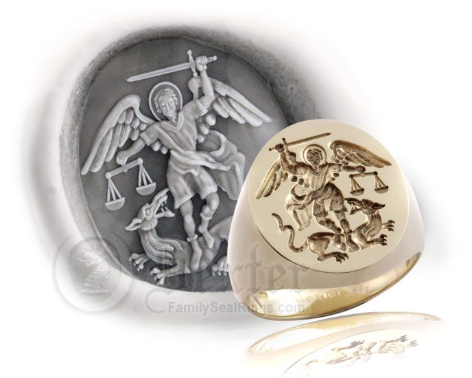 Saint Michael The Archangel Signet Ring 17th Century