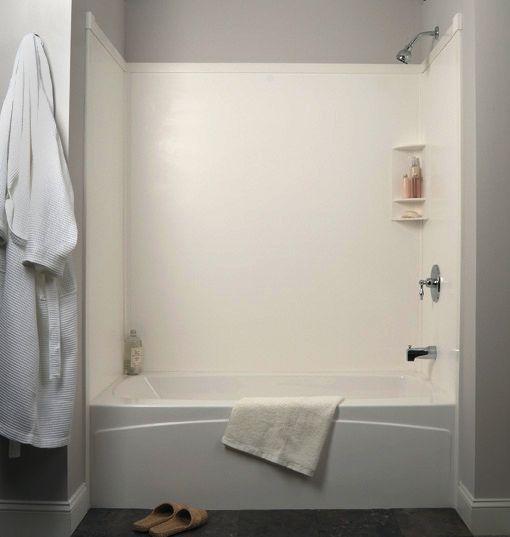 Tub Surround In White Transolid Bathroom Remodel